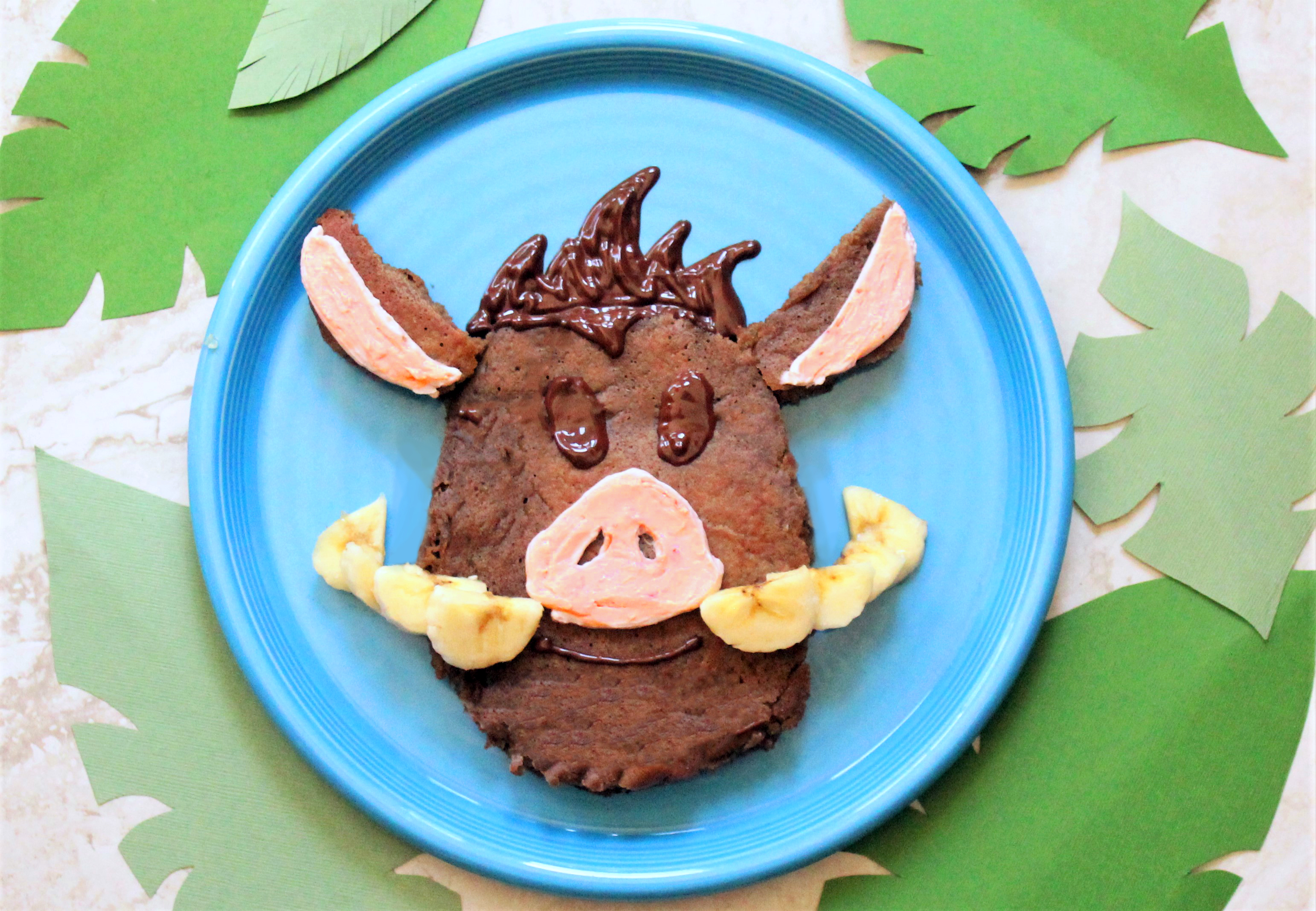 Healthy Chocolate Pancakes - Lion King inspired recipe - DIsney Emoji Pancakes! Pumba healthy chocolate pancakes