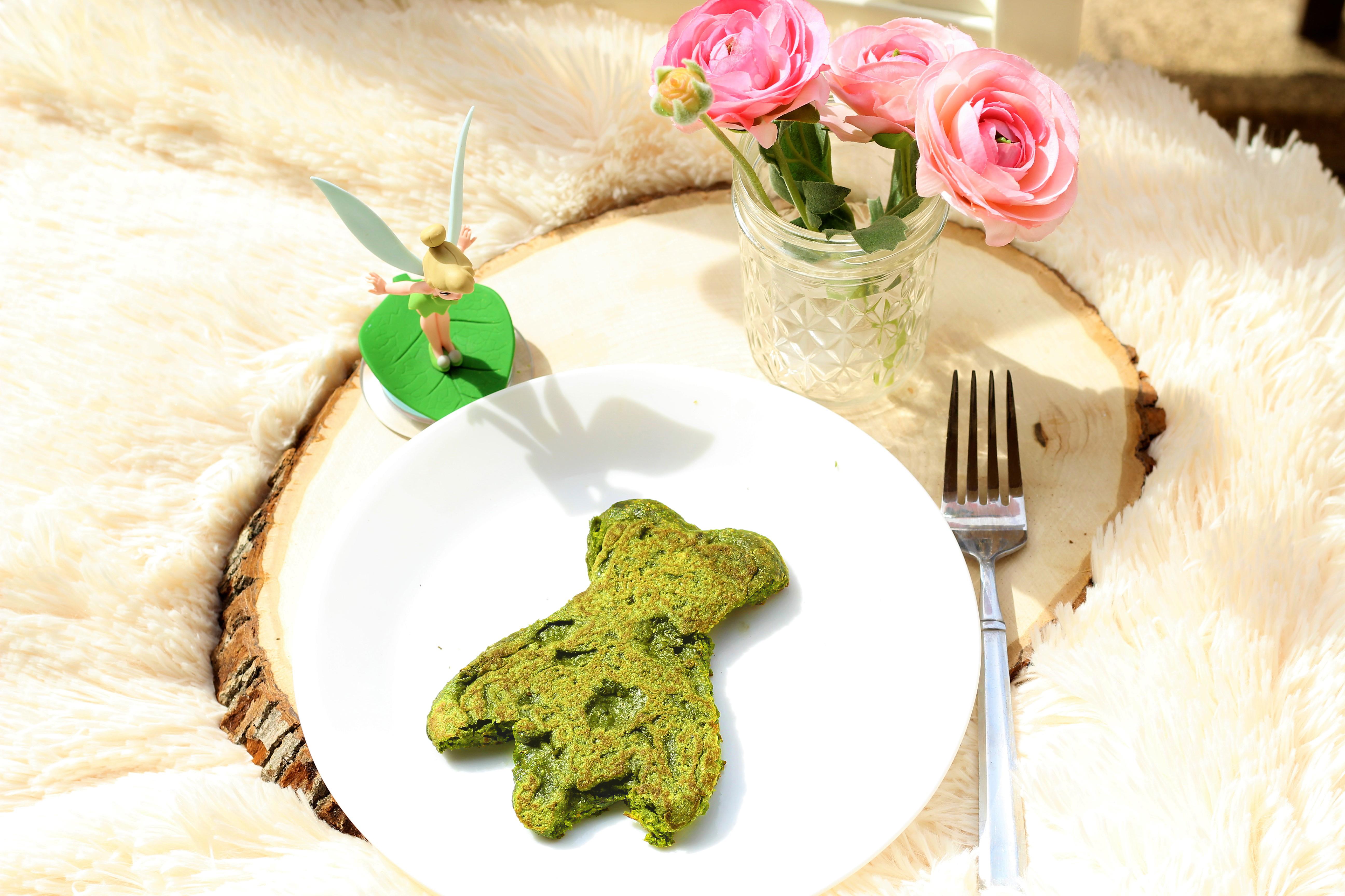 Flitterific Tinker Bell Pancakes - Vegan Matcha Green Tea Pancakes - St Patricks Day Recipe