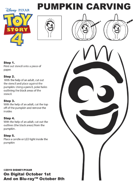 toy story 4 pumpkin template  Toy Story 6 Forky Pumpkin Carving Stencil - The Healthy Mouse